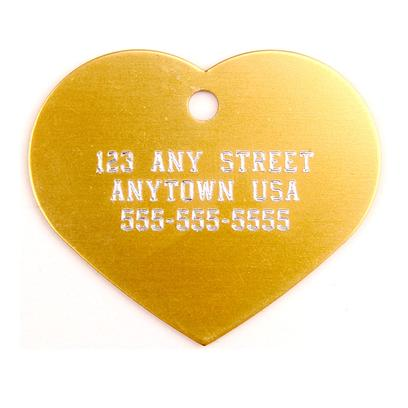 Pet Tags Presents Large Gold Heart Personalized Pet Tag Heart-1.25'x1.5'. The Large Gold Heart Personalized Pet Tag is a Heart-Shaped Pet Tag that can be Attached to an Animal's Collar. It can be Used for Id or for Fun. The Large Gold Heart Personalized Pet Tag Includes Free Engraving, which can be Ordered Using a Simple Form with the Product. Both Sides can be Engraved and you can have Up to Three Lines on Each Side. The Top Line can Accommodate Up to 20 Characters, the Middle Line can have Up to 18 Characters, and the Bottom Line can have Up to 16 Characters. The More Characters, the Smaller the Text will Be. Customers should Pay Very Close Attention to Spelling, as Engraving Orders Cannot be Canceled. Nor can the Tags be Returned Unless they have some Other Defect. Engraving Orders may be Delayed by One Day to Ensure Quality Control. [13289]