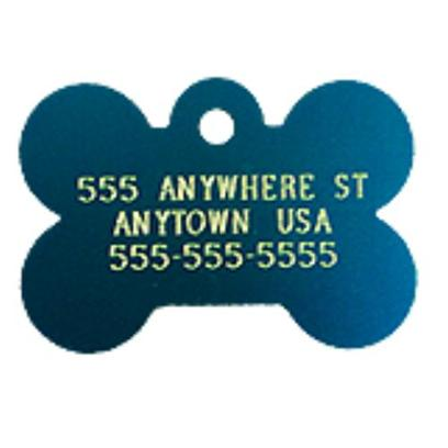 Petcarerx Presents Small Blue Bone Personalized Pet Tag Bone-1.1'x0.75'. Ensure that your Little Buddy Always Finds his Way Home with this Stylish Blue Bone Personalized Pet Tag. Has just the Perfect Amount of Space for your Dog's Name, as Well as a Contact Number and Address. High Quality Metallic Tags can be Used for Id or for Fun. Measures 3/4'' High X 1 1/8'' Wide. [13290]