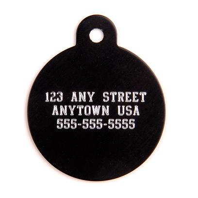 Petcarerx Presents Small Black Circle Personalized Pet Tag Circle-7/8'x7/8'. High Quality Metallic Tags can be Used for Id or for Fun. Measures 1'' High X 7/8'' Wide. [13292]