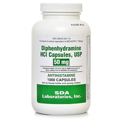 Buy Diphenhydramine Rx (Generic Benadryl) 50mg Per Capsule a General Antihistamine. Cough Suppressant, Antiemetic and a Sedative, Treating Allergies, Insect Bites, and Other Causes of Itching. [13311]
