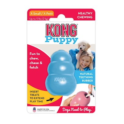 Kong Company Presents Kong Puppy Small 1 to 20lbs. The Hugely Popular Kong for Adult Dogs is Now Available in a Puppy Version. This Durable yet Softer Puppy Kong is Great for Good Oral Health and Tackles Teething Problems Effectively Too. Kong Puppy also Helps with Developing Strong Jaws and Good Chewing Behavior. It can also be Frozen to Soothe the Puppy's Sore Gums. It Mentally Stimulates the Puppy while Pet Parents are Away because Skill and Persistence is Required to Get to the Treat Inside. [14019]