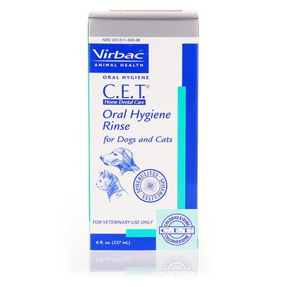 Virbac Presents C.E.T. Oral Hygiene Rinse 8oz Bottle. This not only Maintains your PetS Oral Hygiene with an Anti-Plaque Formula, but also Leaves them with Fresh Smelling Breath. A Special Alcohol-Free Formula Makes this Solution Safe for Everyday UseFree of Side Effects. With some Oral Hygiene Rinses you Run the Risk of Dehydrating your Pets and Irritating their Mouths. With this Unique Formula you Take None of Those Risks, youLl Simply be Protecting your Pet Against Mouth Infections without Brushing their Teeth. An Applicator is Included to Make Even Distribution of this Solution Easy for you and Stress-Free for your Pet. [13638]