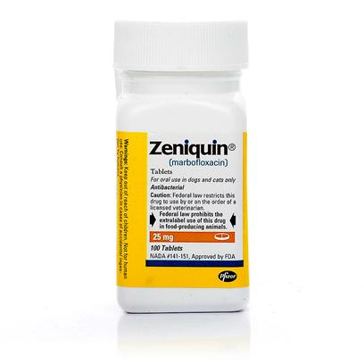Pfizer Presents Zeniquin 25mg Per Tablet. If you are Looking for a Very Safe and Effective Antibacterial Agent for your Pet, Zeniquin may be the Right Solution. It Treats Bacteria through Inhibiting Dna Replication, and Targets Infections Associated with Bacteria Susceptible to Marbofloxacin (Zeniquin's Primary Ingredient). It is a Broad-Spectrum Synthetic Antibiotic Approved for Veterinary Use in Both Dogs and Cats. It is Longer Lasting than any Other Antibiotic of its Class. It is Specifically Indicated for Skin and Soft Tissue Infections, as Well as Urinary Tract Infections and Cystitis. Coated Tablets are Easy for your Pet to Swallow and Once-Daily Administration Makes Giving your Pet Relief from his or her Symptoms a Simple Task. The Duration of Treatment will Depend on the Cause of your Pet's Infection. Zeniquin is Available in Four Different Potencies, so you can Cater to the Size of your Specific Dog or Cat. [13702]