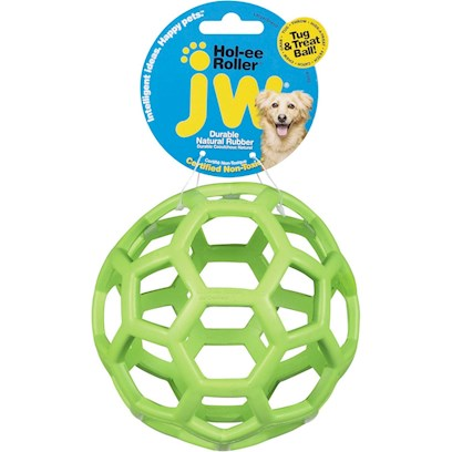 Jw Pet Company Presents Hol-Ee Roller Ball 3.5' Diameter. Show your Love for your Pet with this Unique Pet Toy! Hol-Ee Roller Ball is a Durable, Chewy, Bouncing Toy that Lasts for Long. The Hol-Ee Roller Rubber Ball will Keep your Dog Glued to it for Hours on End. Dogs will Simply Love itS Tough, Stretchy, Bouncing Design. The Soft Rubber Texture Feels Great in your PetS Mouth and it has Holes that Offer Grip for Pets to Grab Onto. This Ball is Offered in an Assortment of Colors, so weLl Pick One for you so youLl be Surprised! The Hol-Ee Rubber Ball is Soft yet Durable and Stands Even the Toughest Tug-of-War with your Pierce Pooch. To Add to the Fun, you can also Use this Ball for a Chase and Fetch Game with your Pup. [13829]