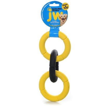 "Jw Pet Company Presents Invincible Chains Large Double Ring 6' Diameter. Durable Chains for Tossing, Tugging, and Chewing this Clever Chain Toy has a Multi-Functional Design that'S Perfect for Games of Tug-O-War, Fetch, or Good Old Fashioned Chewing Sessions. Made with Extra-Strong Rubber and without Seams or Glue, it'S Built to Withstand Rough Play and Heavy Chewing. Reviewers Say these Chains are ""Truly Invincible."" this Toy will Clean your Dog'S Teeth and Gums as they Chew, and it'S a Great Choice for Teething Puppies! [13841]"