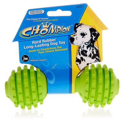 Jw Pet Company Presents Chompion-Hard Rubber Long-Lasting Dog Toy Middleweight 6' Length. Is your Dog in the Chew Toy Destruction Business? This 'Champ of Chomp' was Built Tough to Resist Even the Toughest Chewers, and while your Dog Goes to Town, the Ridged Texture will Clean their Teeth and Gums. The Chompion is Made with Durable, Bouncy Rubber that Makes for a Long-Lasting Game of Fetch. [13852]