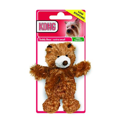 Dr Noys Presents Kong-Dr Noy's Teddy Bear Dog Toy X-Small. The Tuggable Teddy Everyone Loves a Teddy Bear, and your Dog will Become Fast Friends with this Huggable, Tuggable Toy. Unlike Other Soft Toys, this Extra-Tough Bear is Made with Fur and Less Stuffing so you WonT End Up with a Shredded Mess all over the House. ItS Outfitted with a Stimulating Squeaker that can be Easily Swapped out for a Bouncy Ball Using the Hidden Hook-and-Loop Opening. This Bear is Great for Games of Tug-O-War and Fetch, and you Might Even Find your Dog Cuddling Up to it at the End of the Day. [13873]