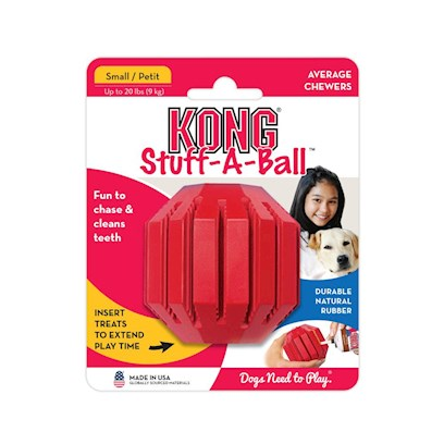 Kong Company Presents Kong Stuff-a-Ball Medium for Dogs 15 to 35lbs. WouldnT it be Great if you Could Combine a Nice Chew Toy and an Oral Hygiene Tool for your Pet Pooch? Now you can with Kong Stuff a Ball! You can also Use this Ball for Training. [13883]