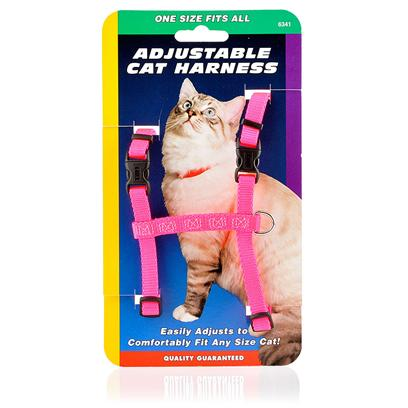 Coastal Presents Adjustable Cat Harness-One Size Fits all Neon Pink. Who Says only Dogs Go for Walks? The Adjustable Cat Harness is Perfect for Taking your Kitty on a Stroll Around the Block. You can also Use it to Tie her Up Outside so she can Explore Safely. This One-Size-Fits-all Nylon Harness Easily Adjusts to Comfortably and Securely Fit any Size Cat. It also Features Durable Quick Release Plastic Buckles and a Metal Ring Leash Attachment. Your Cat will Love Having the Freedom to Explore the Great Outdoors. You'll Love Knowing She's Safe. [14034]