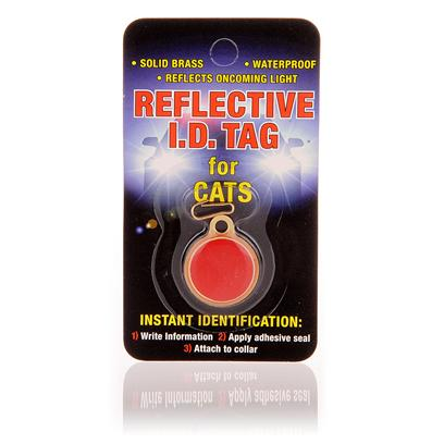 Coastal Presents Reflective Id Tag Red 3/4''. This Solid Brass, Waterproof Id Tag Reflects Oncoming Light to Keep your Pet Safe at Night. [14117]
