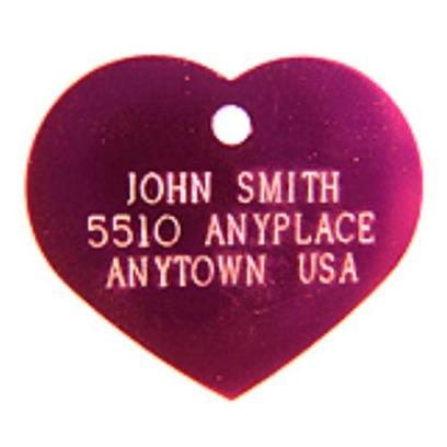 Luckypet Presents Small Purple Heart Personalized Pet Tag 1' X. The Small Purple Heart Personalized Pet Tag is a Safety Tag for your Pet, and is Greatly Useful as an Identification Tag for the Pet, Especially when it is Lost. The Tag is Suitable for Small-Sized Pet; it is Purple in Color, and Shaped Like a Heart. [14184]