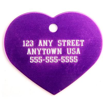 Pet Tags Presents Large Purple Heart Personalized Pet Tag 1.25' X. High Quality Metallic Tags can be Used for Id or for Fun. Measures 1.25'' High X 1.5'' Wide. [14185]