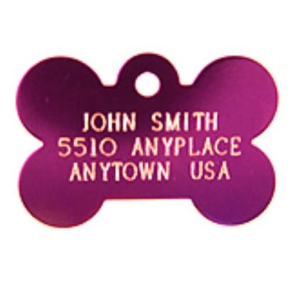 Petcarerx Presents Small Purple Bone Personalized Pet Tag 1.1' X 0.75'. High Quality Metallic Tags can be Used for Id or for Fun. Measures 3/4'' High X 1 1/8'' Wide. [14186]