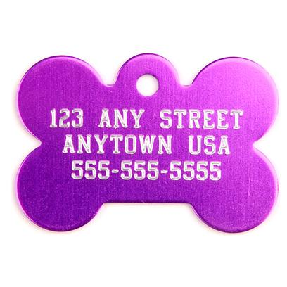 Pet Tags Presents Large Purple Bone Personalized Pet Tag 1.5' X 1'. High Quality Metallic Tags can be Used for Id or for Fun. Measures 1'' High X 1.5'' Wide. [14187]