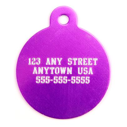 Pet Tags Presents Large Purple Circle Personalized Pet Tag 1.25' X. High Quality Purple Metallic Tag that can be Used for Id or for Fun. Has 3 Lines Available for your Pet's Name, your Name, Address and/or Phone Number. Measures 1.5'' High X 1.25'' Wide. A Must for any Pet Owner. [14189]