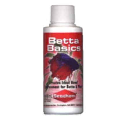 Seachem Laboratories Presents Seachem Betta Basics 50ml. Seachem's Betta Basics is Designed to Provide the Optimal Environment for Both Betta and Plant. Betta Basics Removes any Chlorine, Chloramine and Ammonia. It Buffers the Water to a Ph of 7.0 and Promotes Vigorous Health and Growth. [14280]