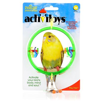 Jw Pet Company Presents Clear Ring Toy. A Clear Ring with a Bell and Colorful Discs that your Bid can Play with while Perching [14337]