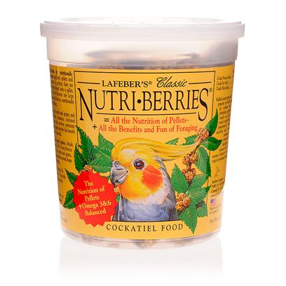 Lafeber Company Presents Lafebers Nutri-Berries Parrot Food-12oz Tub. Minimum Waste. Maximum Nutrition. Nutri-Berries are Different. They're Made with Savory Peanuts, Hulled Canary Seed, Cracked Corn and Other Tempting Ingredients. They're Colorful, Richly Textured and Invitingly Shaped. It's a Difference your Bird can see, Taste and Touch. [14364]