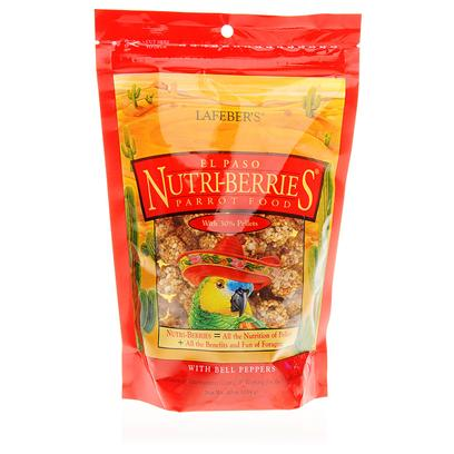 Lafeber Company Presents Lafeber's El-Paso Nutri-Berries 10oz Bag. Wild Flavors for an Untamed Taste. Made with Foods that a Bird Naturally Loves Red, Green &amp; Chili Peppers Together with Cumin, Oregano, Garlic and Other Exotic Spices. They all Come Together to Create a Taste that's Zesty, Zingy, Spicy and Savory. [14365]