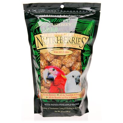 Lafeber Company Presents Lafeber's Tropical Fruit Nutri-Berries Macaw &amp; Cockatoo Food-10oz Bag. Nature Knows Best. In the Wild, there are Certain Foods a Bird Intuitively Craves and Seeks Out. Foods with Sweet Flavors. Succulent Flavors. Foods Like Pineapple, Papaya and Banana. And they're the Very Same Flavors Used to Create Tropical Fruit Nutri-Berries. [14367]