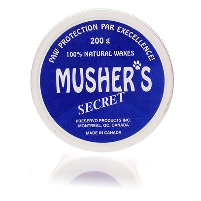 Musher's Secrets Presents Musher's Secret 200g. This Completely Natural Wax Mix Coats and Protects Dogs Paws from Elements Such as Sand, Gravel, Ice, and Hot Pavement.MusherS Wax Dries Instantly and Prevents Burning Drying and Cracking. It is Safe to Use and is not Toxic and Contains no Allergens. ItS Easy-to-Apply and can Help Heal Cuts and Wounds on Dogs Paws and also Prevent Cracking and Further Injury. [14613]