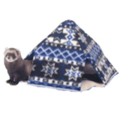 Marshall Presents Ferret Fleece Leisure Lodge. This Cozy Fleece Pyramid has Four Access Points for Easy Entry/Exit. Great for Inside or Outside of Cages. Luxury Fleece Lined [14801]
