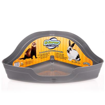 Super Pet Presents Hi-Corner Litter Pan 13.75'x10'x6'. The Hi-Corner Litter Pan Fits Easily into Small Animal Cages. It Features Elevated High Corners to Help Accommodate Messy Back-Ups, while also Preventing Messes and Litter from Scattering Outside the Cage. It is Constructed of Easy-to-Clean, Stain and Odor Resistant Plastic. [14820]