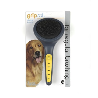 Jw Pet Company Presents Jw Pet Company (Jw) Gripsoft Slicker Brush Regular. Jw's Gripsoft Slicker Brush is the Universal Brush of Dog Groomers. Great for Use on Long Coats, Medium Coats, Wiry Coats, Flat Coats and Curly Coats. All of Jw's Grooming Tools are Specially Designed to be Ergonomically Correct and Comfortable, Even when Wet. [14957]