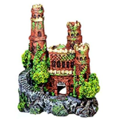 Penn Plax Presents Medieval Castle with Metallic Top Blue 3.5'' X 2.5'' 4''. Authentic Castle Ruin, Hand-Painted in Realistic Detail ''New Mini Size. Featuring Large Swim-through Chambers, and Flashy Metallic Tops. [14982]