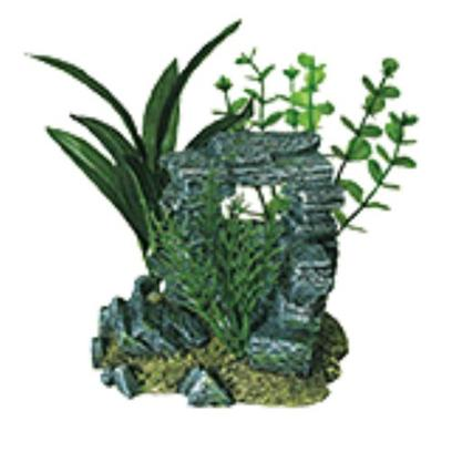 Penn Plax Presents Rock Arch with Plants Small 5.5' X 4''. A Natural Hand-Crafted Stone and Rock Structure, Artistically Arranged with Artifcial Plants''jungle Florals Series are Safe for all Freshwater and Marine Aquariums. [14983]