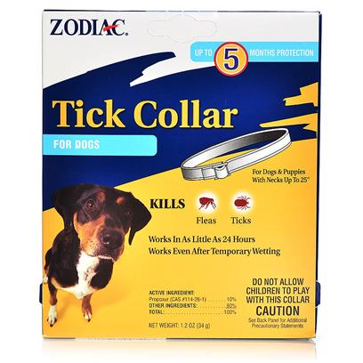 Wellmark Presents Zodiac Tick Collar for Dogs Regular. Zodiac Tick Collar for Dogs is a White Collar that when Placed Around your Dog'S Neck Provides Protection Against Ticks, and Fleas Up to 5 Months. While it Might not be the Cutest Collar for your Dog, it is Functional. It will Keep Working Even if your Dog Takes a Dip in Water. [15102]