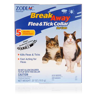 Wellmark Presents Zodiac Flea and Tick Collar for Cats(Break-Away) Break Away &amp; Cats. Zodiac Flea and Tick Collar for Cats (Break-Away) is a Unique Cat Collar Designed in Such a Way that your Cat can Easily Get Away in Case it Gets Stuck. This One-Size-Fits-all Collar Provides Protection by Killing Fleas and Flea Eggs, while Preventing Re-Infestation for a Period of Eight Months. It also Kills Ticks, Including Those that Carry Lyme Disease (for Six Months). [15124]