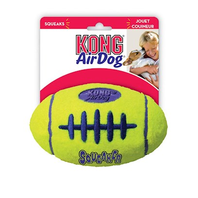 Kong Company Presents Kong-Air Dog Squeaker Football Medium 5'. Two Great Toys in One! Perfect for the Dog that is Both a Football and Tennis Fan, the Air Kong Squeaker Football Tosses just Like a Football and is Made from the Same Material Tennis Balls are Constructed From. To Make it Even More Fun, there is a Squeaker Inside the Ball. Give your Dog Fun Sounding Touchdown with the Air Kong Squeaker Football. [15224]