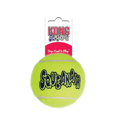 Kong Company Presents Kong Air Dog Squeaker Tennis Ball 3 Pack. Squeaky and Round, this ToyS an Ace Tennis is all About the Back and Forth, and the Kong Air Dog Squeaker Tennis Ball is no Different. This Toy Brings Together Two Classic Dog Playthings to Keep your Pet Entertained for Hours. Combining the Tennis Ball with the Squeaker, a Playful Noise Dogs Know and Love. The Kong Air Dog Squeaker Tennis Ball has a New and Improved Design, with a Non-Abrasive Felt Cover and Squeaker that Lasts Long Beyond that First Throw. The Ball is Designed to not Wear Down your Dog's Teeth, Making it a Fun and Safe Toy for all Ages. It is Made from 100% Pure Materials and Boasts a Clean, Finished Look. The Kong Air Dog Squeaker Tennis Ball is Great for Encouraging your Dog to Get the Exercise it Needs Every Day. [15306]