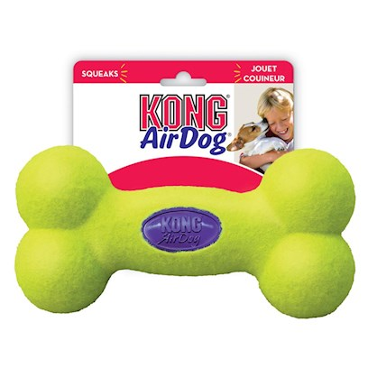 Kong Company Presents Kong Airdog Squeaker Bone Large 9'. A Durable Squeaker for your Best Buddy! Imagine a Bone-Shaped Tennis Ball, with a Squeaker Inside, and youVe Got the Kong Airdog Squeaker Bone. The Tennis Ball Technology is Very Durable, and Protects the Squeaker Inside. Play Fetch, and this One will Always Come Back. The Neon Tennis Ball Color Makes these Bones Easy to Find. [15190]