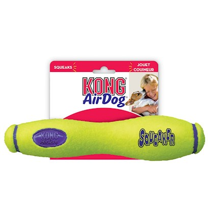 Kong Company Presents Kong Air Dog Squeaker Stick Large 10'. Squeakers Meet Tennis Balls in this Ultimate Bouncy/Floating Combo Toy. Your Dog will Never be Able to Predict where It'll Bounce to Next! The Non-Abrasive Tennis Ball Material is Super Gentle on Teeth and Gums. It Even Floats in Water! [15192]