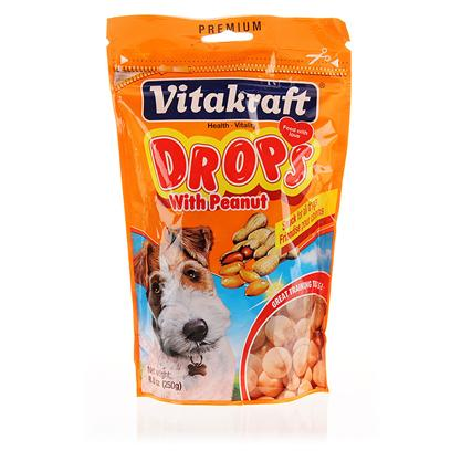 Vitakraft Presents Vitakraft Drops Dog Treats Peanut. Reward Great Behavior with a Nutritious Enriched Treat! Vitakraft Drops have Vitamins and Minerals to Keep your Dog Healthy and a Great Flavor that will also Keep your Dog Happy as Well. The Resealable Bag Ensures that Each Treat will be just as Delicious as the First Bite for your Dog. [15230]
