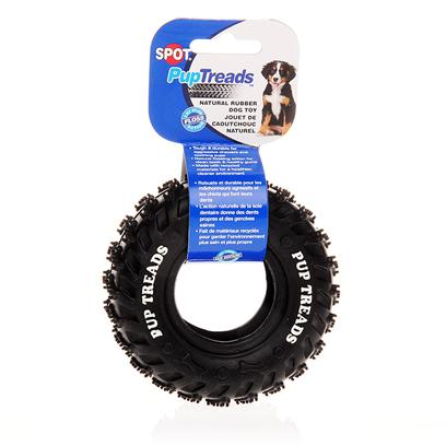 Ethical Presents Pup Treads Natural Rubber Tire 6'. Pup Treads Natural Rubber Tire is a Special Pet Care Product Designed for Aggressive Chewers and Teething Pups. This Toy is Great for a Toss and Fetch Game and as a Tug Toy. Measuring 6 Inches, this Rubber Toy Tire is Tough and Durable and Provides a Natural Flossing Action for Clean Teeth and Healthy Gums, while your Pet Chews at It. It is Ultra Tough and Lasts and Lasts! Put your Powerful Dog Up for a Test Against this Tough Toy. This is the Perfect Toy for you and your Dog to Enjoy some Outdoor Action! Surprise your Favorite Pup with the Pup Treads Natural Rubber Tire! [15239]