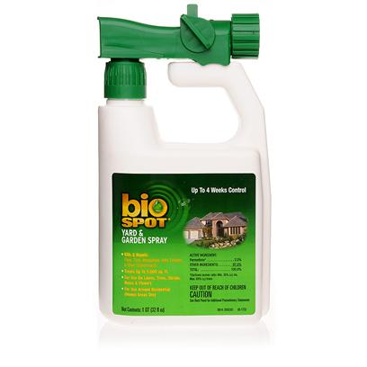 Farnam Presents Bio Spot Yard and Garden Spray 32oz. Spraying for Fleas and Ticks Used to Mean Harsh Chemicals and Worrying About your Pet. Now you can Help Eliminate Unwanted Pests from your Yard with Bio Spot Yard and Garden Spray. One Bottle will Treat Up to 5,000 Square Feet and Work for Up to Four Months. You'll Kill and Repel Mosquitoes, Ticks, Fleas, and Other Pests Making your Pets Happier and Healthier. [15318]