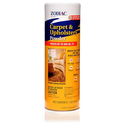 Wellmark Presents Zodiac Carpet and Upholstery Powder 16oz. If you only Focus on the Adult Fleas and Ticks in your Home, youRe not Getting Rid of the Majority of the Infestation. Zodiac Carpet and Upholstery Powder Provides Long-Lasting Flea and Tick Control in your Home. Fleas and Ticks Both have Several Life Stages, and Once theyVe Gotten into your Home, the Adults are only a Fraction of the Population. The Larvae and Pupae are Often Lurking in your Carpeting and the Crevices of your Furniture. Capable of Providing Up to 400 Square Feet of your Home with Protection for Up to 12 Months, this Powder has a Mild Citrus Scent. The Nylar Insect Growth Regulator (Igr) will Target Both Flea Eggs and Larvae, Killing them Before they are Able to Develop into Adult Fleas. [15316]