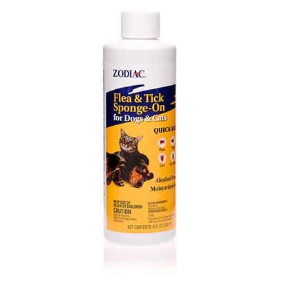 Wellmark Presents Zodiac Flea and Tick Sponge-on for Dogs Cats 8oz. Zodiac Flea and Tick Sponge-on for Dogs and Cats Kills Fleas, Ticks, Lice and Ear Mites. It is a Concentrated, Alcohol Free Formula that is Non-Drying to the Skin and Long Lasting. Sponge-on is Great for Spot Treating Problem Areas and can be Used Weekly if Needed. It is for Dogs and Cats over 12 Weeks of Age. [15322]