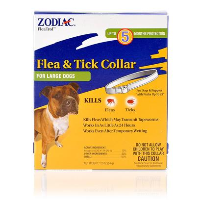 Wellmark Presents Zodiac Flea and Tick Collar for Dogs Necks Up to 25'. Zodiac Flea and Tick Collar for Dogs is Fast Acting in Killing Fleas and Ticks Up to 5 Months and Stays Effective Even if the Collar Gets Wet. Zodiac Flea and Tick Collar for Dogs is Convenient and Easy to Use. [15327]