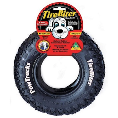 Tirebiter Presents Tirebiter Heavy Duty Rubber Tire Small 6'. The Tirebiter is the Perfect Dental Chew Device for your Dog's Teeth. The Combination of Soft Natural Rubber and Nylon Fibers Removes Plaque and Tartar Build Up. Great for Puppies who are Teething and will Withstand the Heavy Chewing of Larger Dogs. [15344]