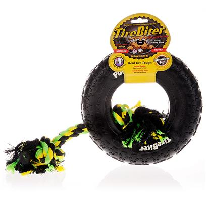 Tirebiter Presents Tirebiter Heavy Duty Rubber Tire with Rope Small 6'. The Tirebiter is the Perfect Dental Chew Device for your DogS Teeth. The Combination of Soft Natural Rubber, Nylon Fibers and Cotton Rope Removes Plaque and Tartar Build Up. Great for Puppies who are Teething and will Withstand the Heavy Chewing of Large Dogs. [15345]
