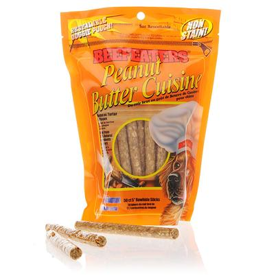 Beefeaters Presents Beefeaters Peanut Butter Cuisine Chew Sticks 50. Beefeaters Peanut Butter Cuisine Chew Sticks are Made with all Natural Ingredients. They Satisfy any Dog's Chewing Needs while Keeping their Teeth Clean and Strong. They are a Great Treat to Use for Training. [15365]