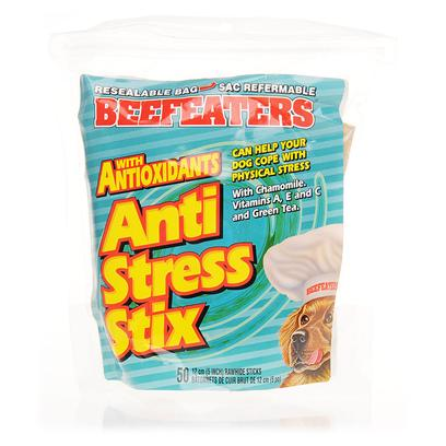 Pet Rapport Presents Beefeaters Anti Stress Stix 50 Sticks. Beef Eaters Anti Stress Stix are an Excellent Remedy for the Treatment of Canine Stress. Richly Packed with Antioxidants and Vitamins Such as Chamomile, Vitamins a, E, C, and Green Tea, these Treats are also Tasty Enough to Satisfy the Palates of all Dogs. Moreover they are a Rich Source of Protein. These Healthy and Beneficial Treats may Help your Dogs Cope with the Physical Stress and Relax. Beef Eaters Anti Stress Mix are Moist, Chewy Ground and Provide a Balanced and Healthy Dose of Protein. It Makes an Essential Part of Every Doggie'S Diet. [15366]