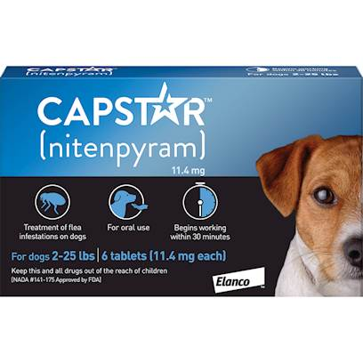 Novartis Presents Capstar Flea Killer over 25lbs-6 Pack. Capstar Flea Killer is a Daily, Oral Caplet Flea Treatment for Dogs and Cats who are 4 Weeks and Older and Weigh 2 Pounds or More. Capstar Flea Killer Begins Killing Fleas Within 30 Minutes and Last Up to 24 Hours. However, it is not a Flea Preventative. [15563]