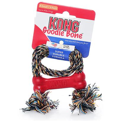 Kong Company Presents Kong Goodie Bone with Rope X-Small - 4lbs (only Toy/Teacup Breeds). Your Pet will have Hours of Enjoyment with this New Chew Toy which Doubles as a Rope Tug Toy from Kong. [15641]