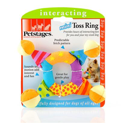 Petstages Presents Petstages Mini Toss Ring. Offers Fun Fetch for you Small Sized Dog. Mini Sized for Smaller Dog and Various Sounds and Motion Keeps your Pet Interested. Easy for the Small Dog to Spot, Grasp and Fetch. The Prefect Toy for your Toy Sized Pet [15776]