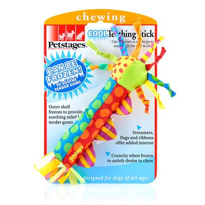 Petstages Presents Petstages Cool Teething Stick. The Cool Teether Stick Makes Soothing your Dog's Tender Gums Simple, while Providing a Fun Chew Object. Freezes to Provide Cooling Relief for Tender Gums, Mold Resistant Filling is Perfect for Freezing and Washing. [15791]
